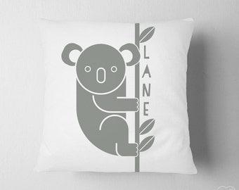 Personalized Koala Pillow, Grey Name Nursery , Boy Nursery Animal Name, Baby Name Big Boy Room Pillow, Australia Travel Nursery Decor Bear