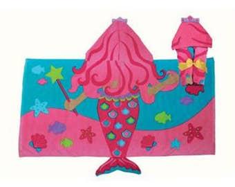 Personalized  Hooded Towel, Mermaid Hooded Towel, Girls Beach Towel, Toddler Beach Towel, Mermaid Towel, Stephen Joseph Hooded Towel