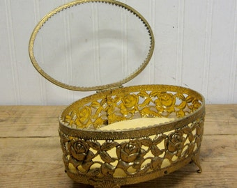 Vintage Gold Filigree Ormolu Jewelry Box