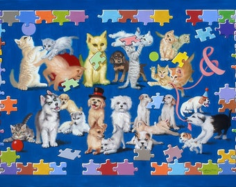 Kits & Pups kittens pups cats dogs Illusion 40x60 (101 x 152 cm) oils on canvas by RUSTY RUST / C-118