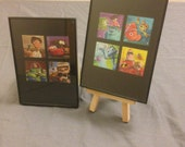 "Pixar - Two Recycled Postage Stamp Framed Art 3.5""x5"", monsters inc, incredibles, finding nemo, ratatouille, up, cars, bugs life, toy story"