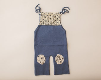 Newborn Photography Overall Set- Cadet Blue and Lace
