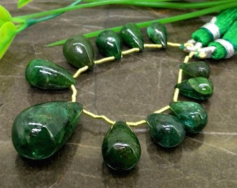 Natural Emerald 8.5-21mm Smooth Drops Briolette Beads / Approx 11 pieces on 4 Inch long strand / JBC-ET-139290