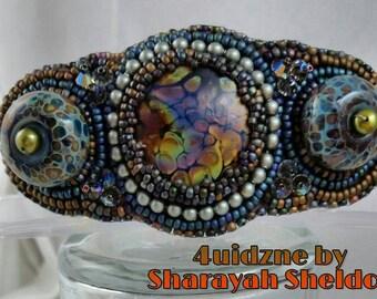 A Night in the Woods  bead embroidered hair barrette raku dancing colors Borosilicate glass night sky