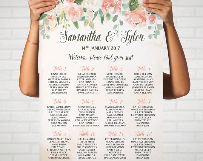 Personalized Wedding Seating Chart Table, Wedding Seating, Wedding Decor, DIY Wedding in Peaches and Cream, Print Your Own
