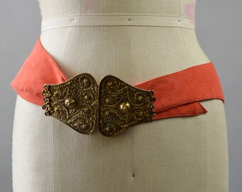 "Ornate Antique Gold 2 Piece Buckle Large with Soft Orange Leather Belt Adjustable Size 45"" Length Ethnic Hippie Belt"
