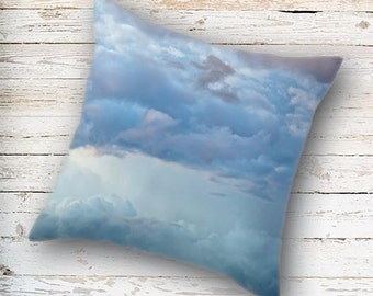 Blue Clouds Pillow Cover, Blue Pillow Cover, Storm Clouds, Cloudy Sky, Cloud Pillow Case, Blue Pillow Case, Mother Nature, Nature Photo