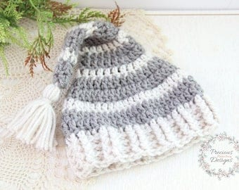 Newborn Hat, Baby Hat, Elf Hat, Gray Oatmeal Stripes Elf Hat, Newborn Photo Prop, Stocking Hat, Baby Boy Hats, Crochet Baby Hats, Infant Hat