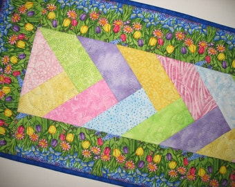Easter Table Runner, Floral, Spring, French Braid, quilted, Summer, table linens,