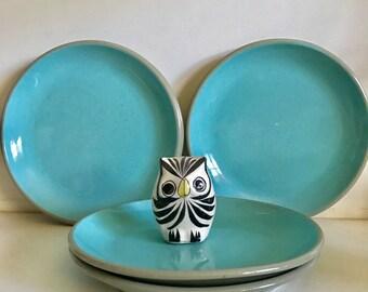 Midcentury Harkerware Plates, Set of 5, Blue and Grey, Dessert Plates, Appetizer Plates