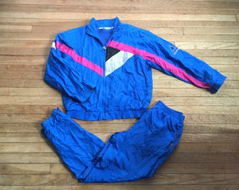 Vintage 1980s 1990s Women's Le Coq Sportif Color Block NEON WINDBREAKER Jacket & Pants Set Track Gym Suit
