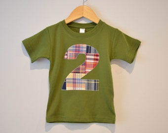 Ready to Ship, Boys 2nd Birthday Shirt, Applique Number 2 Tshirt, Madras Patchwork Plaid, Red Olive Green, Short Sleeve, Number Two Tee 2T