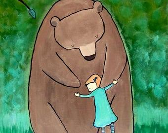 Bear Hug Large Original Kids Art Woodland Nursery Painting Whimsical Childrens Room Decor Baby Artwork Storybook