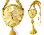 1920's Carved Celluloid BEE Pendant on Amber Celluloid Bead Necklace with Tassel - Vintage Art Deco Jewelry