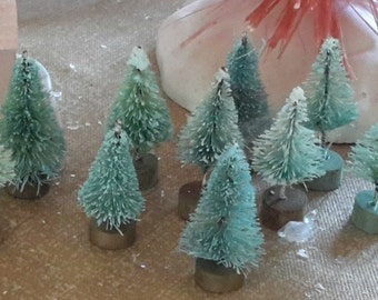 "10 bottle brush trees 1 1/2"" size AQUA light snow teeny tiny vintage style"