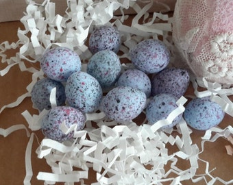 "15 tiny EGGS BLUE mini small  7/8"" shabby craft supplies miniature"