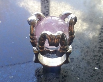 Amethyst Orchid Crystal Ball Ring