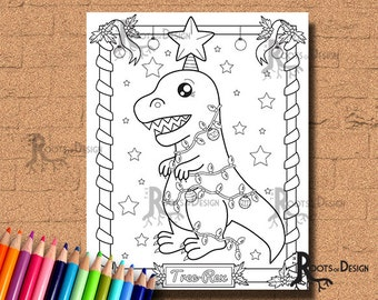 INSTANT DOWNLOAD Cute Christmas Tree-Rex Page Print, doodle art, printable