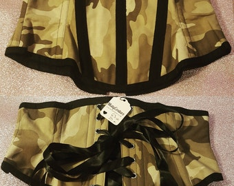 REDUCED - camo cotton waspie corset 25""