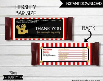 Hollywood Birthday Party Printable Chocolate Wrappers by Fara Party Design | Movies Party | Hollywood Star | Candy Wrappers