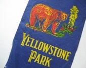 Unusual Yellowstone Park vintage souvenir felt pennant bear motif castle banner style blue purple gold