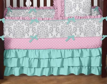 Baby Crib Bedding, Nursery Bedding, Toddler Bedding, Bumper Pads, Crib Skirt, Dust Ruffle, Fitted Sheet, Baby Girl Nusery Bedding, Pink Teal
