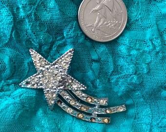 Comet crystal pin meteor brooch rhinestones 50s flaw