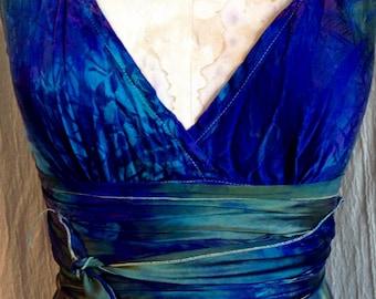 royal blue and green short silk wedding dress mother of the bride dress short tie dye dress island wedding dresses