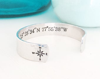 SALE Custom Coordinates Jewelry, Latitude Bracelet, Longitude Bracelet, Latitude Jewelry, Longitude Jewelry,Coordinates Bracelet,Compass Bra