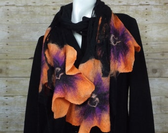 Felted  Shawl, wool wrap,  wool shawl, felted scarves, scarf  for evening dress,  black and orange, orange flowers scarf