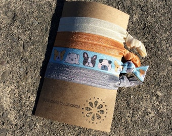 knotted elastic hair tie set - cream, orange, blue with dogs, and gray