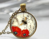 ON SALE Bee Necklace Red Poppy Jewelry Honeybee Flower Garden Spring Floral Art Pendant in Bronze or Silver with Link Chain Included