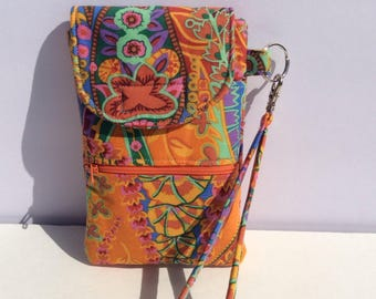 cellphone wallet/wristlet/clutch in orange paisley Kaffe Fassett print, padded wristlet, smartphone case, iphone clutch, handmade handbag