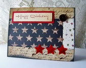 Stars and Stripes birthday, Military birthday, handmade birthday card, Patriotic design, Red White and Blue flag card, 4th of July birthday