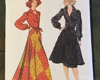 1970s Vogue Sewing Pattern 9415 Misses Patchwork Wrap Long or Short Skirt, Top Size 14 cut-Vogue Pattern, wrap skirt pattern, patchwork