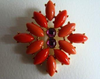 Yves Saint Laurent YSL red orange brooch