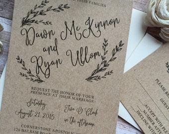 Rustic Wedding Invitation, Laurel Wedding Invitation, Shabby Chic Wedding Invitation, Kraft Wedding Invitation, Country Wedding