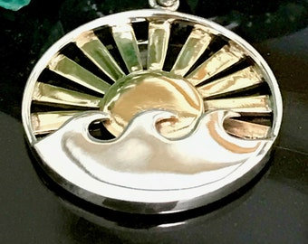 NEW - Day Break  1 Rising Sun Pendant with Triple Ocean Waves - Mixed Metals - Sterling Silver and Bronze - P40