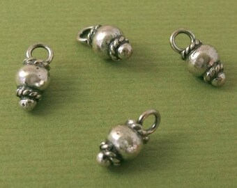 Oxidized STERLING SILVER Charms - 4 Chunky Baubles, Little Dangles or Drops  C136