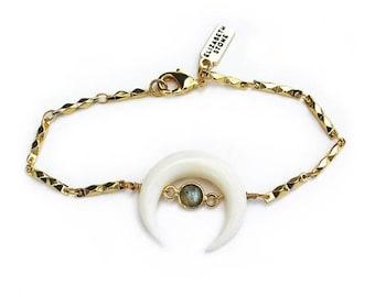 ON SALE Bone Crescent Gemstone Bracelet - Labradorite/white