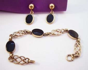 Gold filled Black Onyx bracelet and earring set