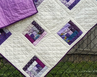 Purple and Lavender Patchwork Throw Quilt, Traditional Log Cabin Lap Quilt or Ladder or Wall Hanging, Perfect size for a wheel chair