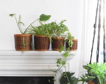 fabulous set of 4 nesting brown beige woven wicker rattan basket planters