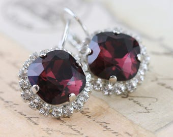 Burgundy Bridesmaid Earrings Set of 3 4 5 6 7 8 9 10 Pairs Bridal Party Jewelry Gift Maroon Wedding Swarovski Crystal Also Avail As Clip On
