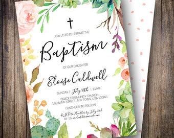Succulent Baptism Invitation, Floral Baptism Invite, Cactus Invite, Baptism Invitation Neutral, Watercolor Baptism Invite, Green, Teal 701