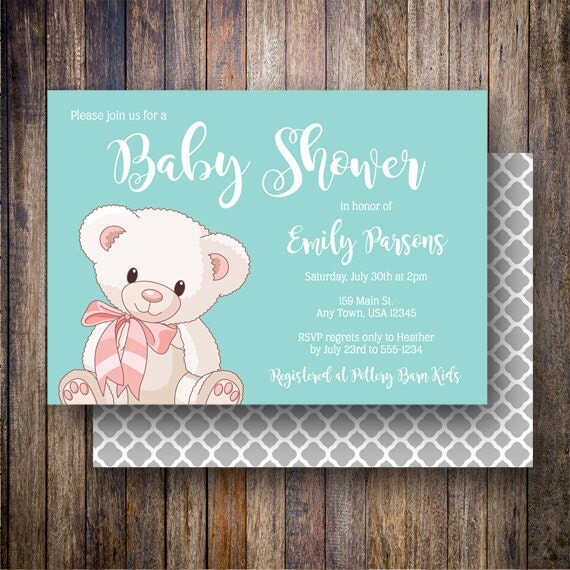 Teddy Bear Baby Shower Invitation, Teddy Bear Baby Shower Invite, Printable Baby Shower Invitation - Cuddly Teddy Bear in Teal Blue and Gray