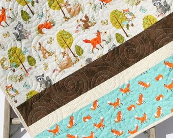 Forest Baby Quilt, Boy or Girl Gender Neutral, Modern Trendy, Baby Bedding, Nursery Blanket, Toddler Forest Frolics, Fox Deer Brown Teal Tan