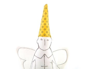 Christmas angel - Black & White guardian angel With white wings Wearing Yellow with black circles pointed hat - handmade fabric doll