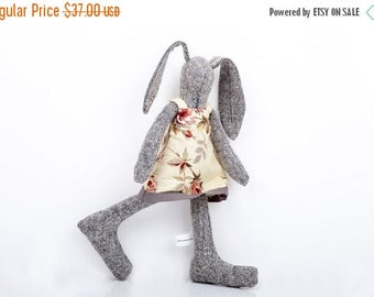 SMALL Bunny Rabbit hare doll soft fabric doll - Plush rabbit doll - timo-handmade eco doll - knitted silk baby girl bunny in floral dress