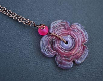 Lampwork Flower Necklace, Copper Wire Wrapped Necklace, Flower Necklace, Pink Necklace, Purple Necklace, Boho Necklace